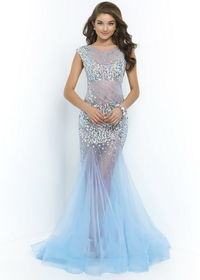 NEW Style Discount Blue Long Beaded Illusion Fitted Flared Trumpet Cheap Elegant Evening Gowns