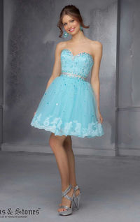 Cheap Aqua Strapless Mini Homecoming Dress by Sticks and Stones by Mori Lee 9278