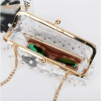 Women Pearls PVC Clutch Bag Fashion Evening Long Chain Messenger Bag Transparent Shoulder Bags Girls Messenger Crossbody Handbag $55.78