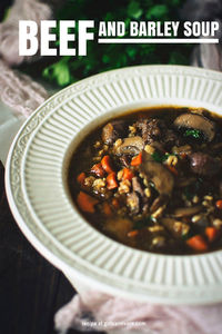 Beef Barley Soup Recipe: beef trimmings, salt, pepper, olive oil, onion, carrots, celery, Bay bee Bella mushrooms, tomato paste, red wine, Bay leaves, fresh thyme, beef stock, Pearl barley and fresh parsley.