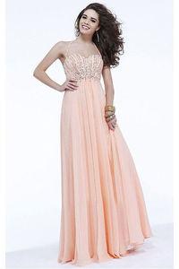 Glittering Sleeveless A-line Floor-length Empire Halter Evening Dresses