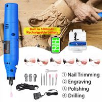 1000mAh Rotary Tool Kit 20000rpm Power Grinder Drill Engraving Pen Electric Drill Set for DIY Carving Grinding
