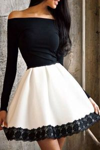 Off-The-Shoulder Color Block Fit And Flare Dress WHITE AND BLACK: Long Sleeve Dresses   ZAFUL
