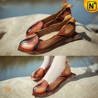 Leather Flat Covered Loafers Shoes for Women CW305147