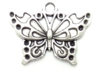 CLEARANCE Pack of 50 Silver Coloured Butterfly Charms. 20mm x 25mm Nature Theme Metal Pendants £8.99