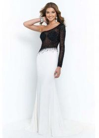 Black Off White Jersey One Sleeve Chiffon Evening Gowns