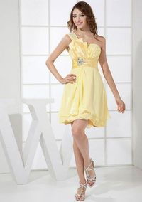 Yellow Pleated One Shoulder Sequin Short Dress