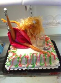 21st birthday cake..or Bachelorette cake.. or an alcoholic's birthday cake..or or.. ha ha its amazing