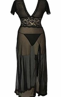 Dear-lover Womens Mesh and Lace V Neck Lingerie Gown XX-Large Size Black For a well-planned night, this gown is very sexy to make your intimate lover cheer up for your alluring silhouette. Plus size sexy mesh gown with lace detail waistline enhancing you ...