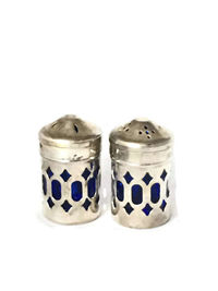 Vintage Caged Silver Plate Cobalt Blue Glass Salt & Pepper Shaker Set | Vintage Home Decor $39.97