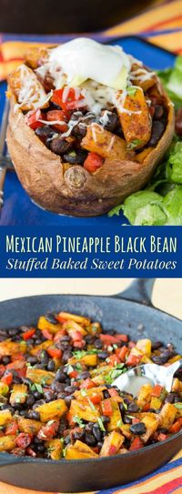 Mexican Pineapple Black Bean Stuffed Baked Sweet Potatoes are a healthy, meatless, gluten-free dinner, perfect for Cinco de Mayo!