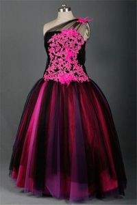 Ball Gown One Shoulder Black Tulle Hot Pink Lace Feather Prom Dress