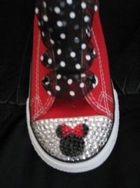 2e68d4641c2f Custom converse Baby bling Minnie Mickey disney rhinestone swarovski  crystals red pink black toddler youth adult