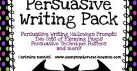 Halloween themed persuasive writing!! Super cute persuasive writing technique posters, prompts, publishing pages for a display and more!!!!