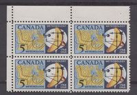 Canada #479ii (SG#621a) 5c Dark/Light Blue, Yellow And Red 1968 Meteorology IssueUL Field Stock Block On HB Paper VF 75/80 NH $35.99