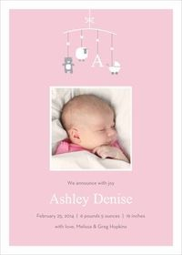 Pink Playful Mobile Baby Photo Announcements