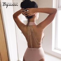 2017 summer New Fashion Sexy Backless chain Halter deep V fashion jumpsuit short - Bonny YZOZO Boutique Store
