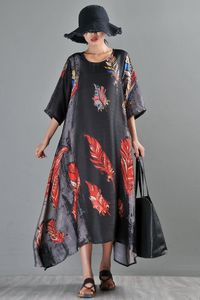Black silk dress - Chinese print dress - Summer dress - Women's loose dress - Oversize dress - Loose dress - Plus size clothing