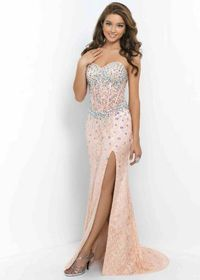 Fitted Corset Beaded Lace Coral Pink Nude Side Slit Prom Dress 2015