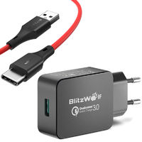BlitzWolf® BW-S5 QC3.0 18W USB Charger EU Adapter + BW-TC14 3A USB Type-C Charging Data Cable 3ft 0.91m