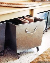 Industrial look rollout bins for entryway, mudroom, or garage