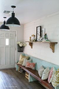 How to install shiplap: peel and stick Stikwood process. Love this easy real barnwood wall treatment. Such an easy farmhouse wall decor solution.