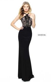 Sherri Hill 50998 Black Halter Lace Long Prom Dress