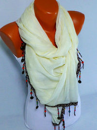 Beige fringed Scarf, Shawl, Beige Fringed Shawl, Lightweight Scarf, Sipring and Summer fashion accessory, Gifts For Her, Mothers Day Gift $22.50