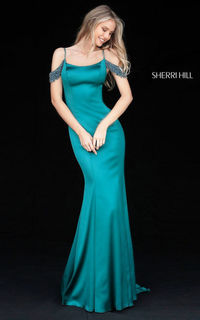 TEAL LONG FITTED SATIN SHERRI HILL 51541 FORMAL PROM DRESS 2017
