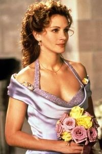 "Julia Roberts has to be one of the most beautiful actresses. She's also not afraid to let her hair be its sometimes-frizzy-curly self. I love that in ""My Best friend's Wedding"" she doesn't straighten it for the wedding. I know a lot ..."