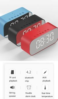 YAyusi S5 Mini Wireless bluetooth Speaker Dual Alarm Clock LED Display Mirror TF Card Subwoofer with Mic