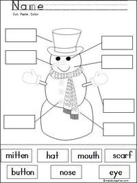 This is a free snowman cut and paste activity created for Madebyteachers.com. Students practice fine motor skills and learn word recognition as they cut out and label the parts of a snowman. Great winter activity for beginning learners.