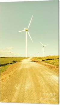 Windfarm Way Canvas Print | Retro landscape on a dirt road under the skies of sustainable wind turbine farming. Woolnorth, Tasmania, Australia | #windfarm #art #landscapeprints #fineartphotography #fineart #walldecor #tasmania #turbines