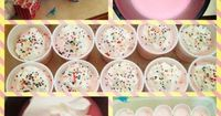 Cotton Candy Pudding Shots! 1 box strawberry creme pudding 1 cup pinnacle cotton candy vodka 1 cup milk 8oz cool whip whipped cream/sprinkle garnish optional! Mix pudding, vodka, milk in bowl. It will be a watery consistency. Once fully mixed, add full 8o...