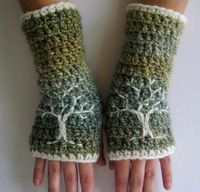 Crocheted Arm Warmers/Fingerless Gloves with Embroidered Tree of Life