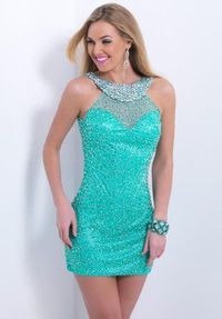 Green Short Sequins Cocktail Dress 2014