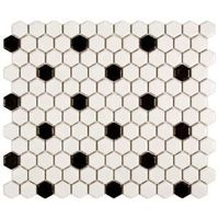 Merola Tile Metro Hex Matte White with Black Dot 10-1/4 in. x 11-3/4 in. Porcelain Mosaic Floor and Wall Tile-FDXMHMWD at The Home Depot