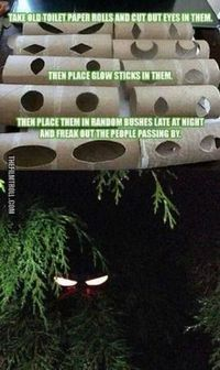 Looking for a use for those old toilet paper or paper towel rolls? Cut two holes for eyes and put a glow stick inside. Position in the bushes for a spooky effect! #halloween #DIY