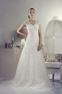 A Line V Neck Lace Ivory Wedding Dress LD2116
