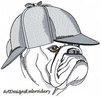 Embroidery dog, bulldog as Mr. Lestrade machine embroidery design, dog embroidery, dog lover gift, embroidery patterns, digitized embroidery $5.40
