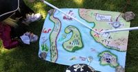 DIY Pirate maps (you'll need: permanent markers, craft paint, old cotton pillow case, imagination)