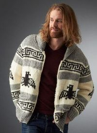 Channel the spirit of Jeff Bridges' character from The Big Lebowski in the Men's Nordic Cardigan. This rustic knit cardigan pattern is an ode to The Dude as wel