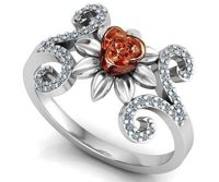 Two Tone Rose Flower Rose Floral Ring Leaves Ring Unique Engagement Ring Art Nouveau Floral ring Birthday Gift For Her Gift $829.00