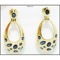 18K Yellow Gold Unique Diamond Blue Sapphire Earrings [E0073]