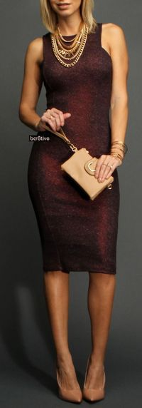 Eggplant Textured and Shimmer Midi Dress