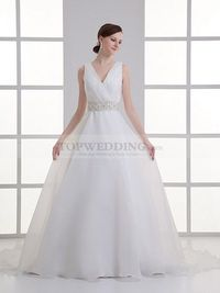 BEVERLY - V NECK ORGANZA OVER SATIN A LINE WEDDING DRESS WITH SURPLICE BODICE AND EMBELLISHED SASH