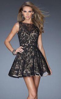 Cheap La Femme 20244 A-Line Lace Little Black Prom Dress
