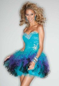 Multi Color Short Bead Ruffles Party Dresses