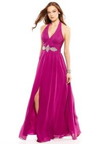 JS COLLECTIONS Plunging V-Neck Waist Detail Gown