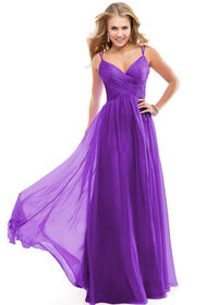 V Neck Purple Passion Ladies Long Evening Dresses